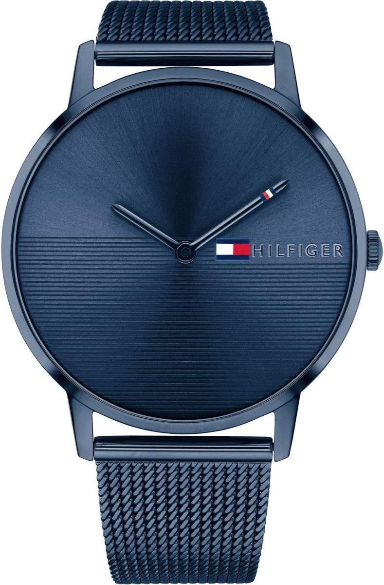 a311cbd345ea TOMMY HILFIGER Alex Three Hands 40mm Blue Stainless Steel Mesh Bracelet  1781971