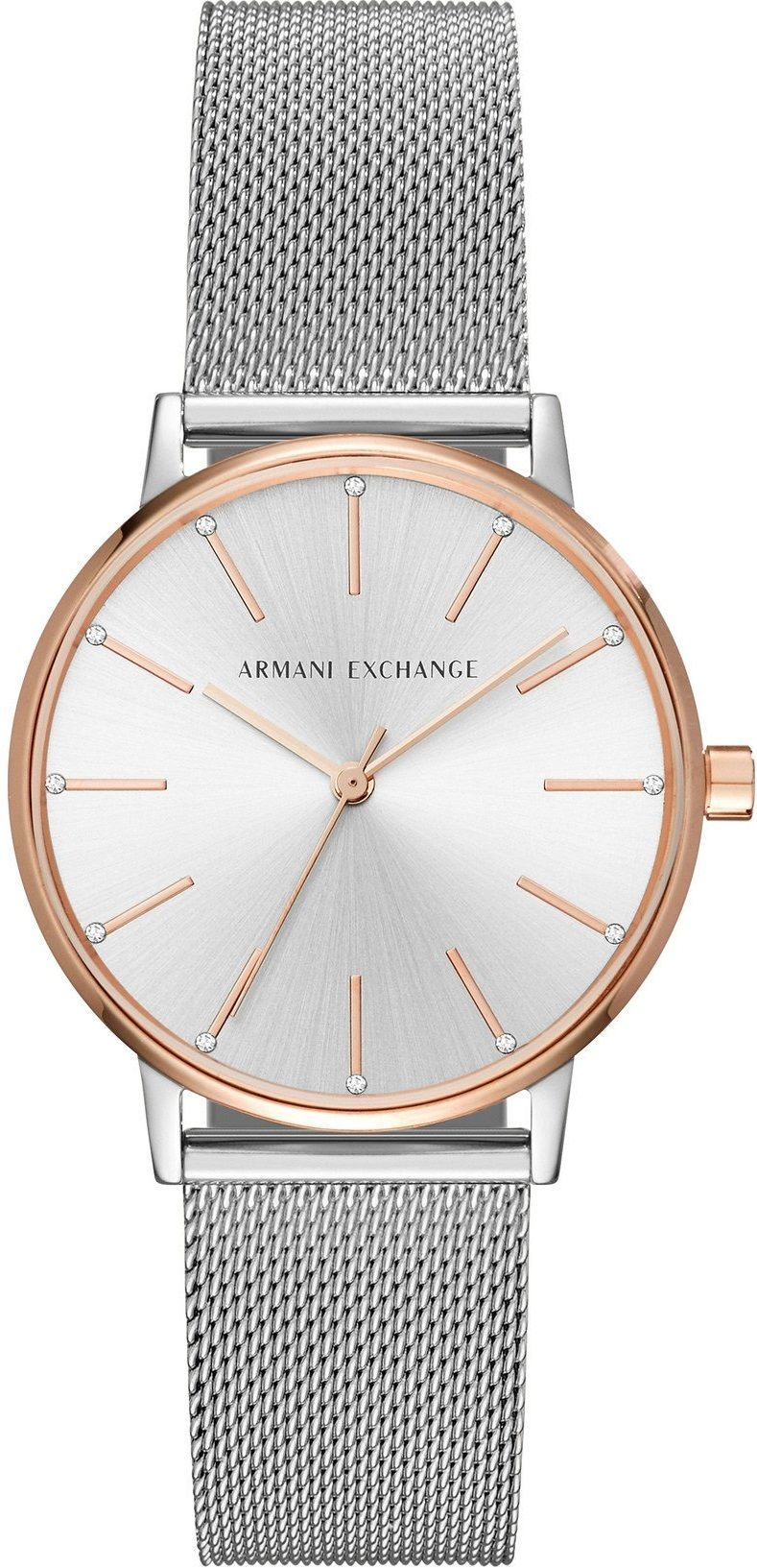11e6e82a Armani Exchange Lola Three Hands 36mm Two Tone Rose Gold Stainless ...