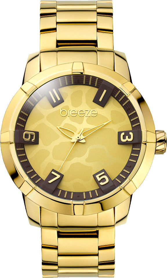 fe7cfd1951 Breeze Safari Chic Three Hands Gold Stainless Steel Bracelet ...