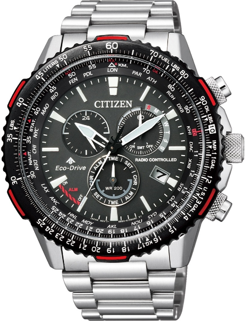 490a865d5 CITIZEN Promaster Sky Eco-Drive Radio Controlled World Time Chronograph  Perpetual Calendar 45.9mm Stainless Steel Bracelet CB5001-57E