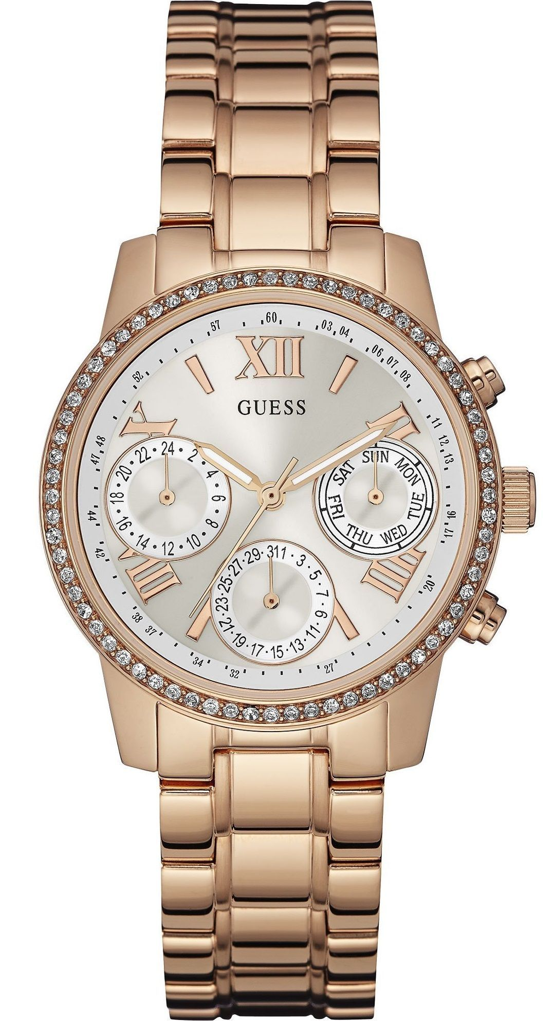b1020fbc4 GUESS Ladies Crystal Multifunction 36mm Rose Gold Stainless Steel Bracelet  W0623L2