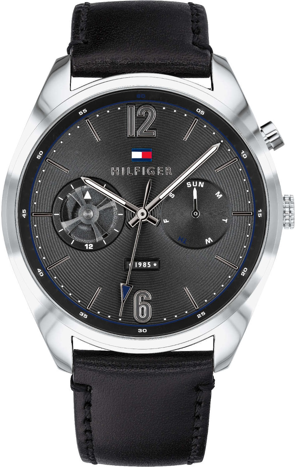 7c661149 TOMMY HILFIGER Deacon Multifunction 44mm Stainless Steel Leather Strap  1791548