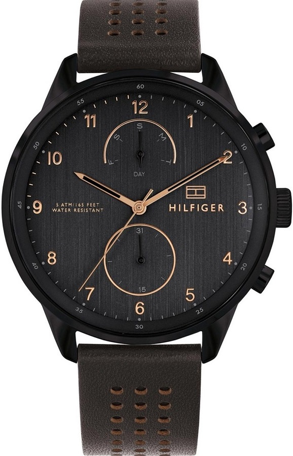 02d3d73cb7 Tommy Hilfiger Chase Multifunction 44mm Black Stainless Steel Leather Strap  1791577 -Belibasakis.gr